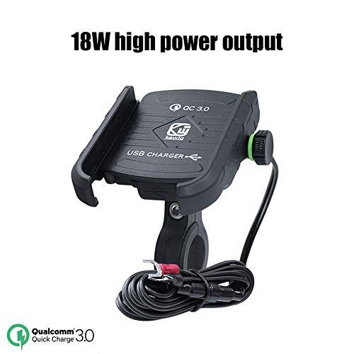Laduup Motorrad-Telefonhalterung mit QC 3.0 USB-Ladegerät, Handy-Halterung mit Universal 360 ° Rotation für Fahrrad/Motorrad,für iPhone Samsung Huawei (Schwarz)