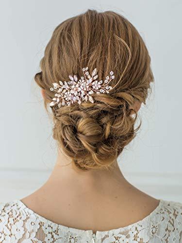 SWEETV – Haarkamm mit Strasssteinen und Perlen, Haarschmuck für die Hochzeit