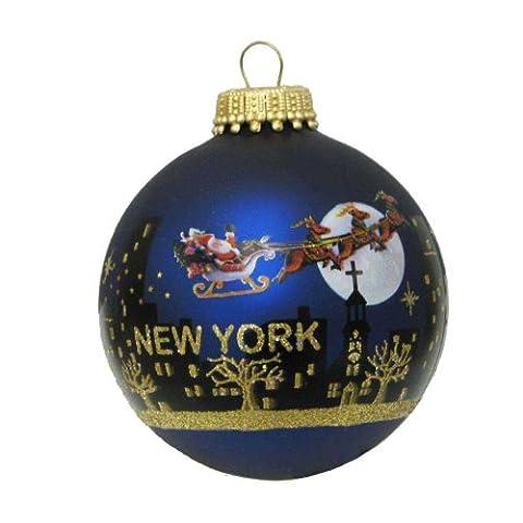 Kurt Adler Weihnachtsmann mit der Skyline von New York, bemalte