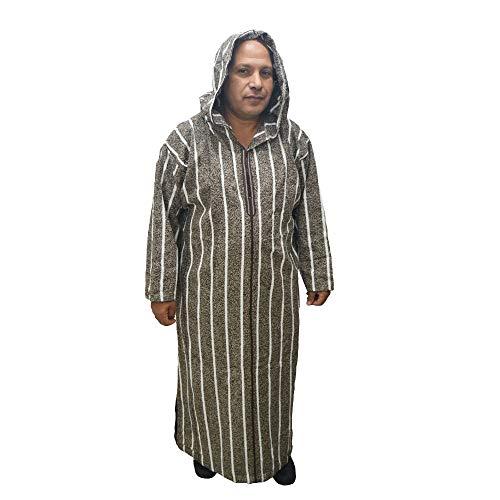 Chilaba para Invierno, djellaba, caftán marroquí, árabe con Capucha. Es de algodón Fuerte para Proteger del frío, Mide 70 cm Ancho x 150 cm Largo Aproximadamente