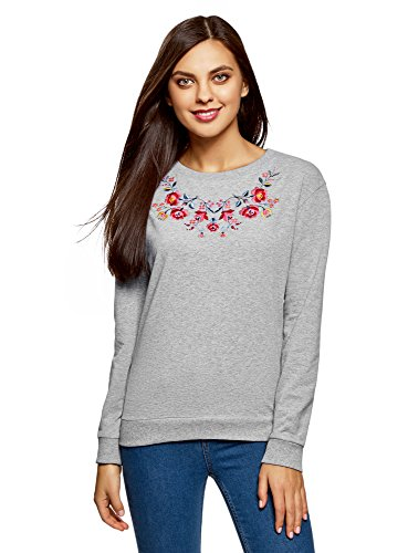 oodji Ultra Damen Baumwoll-Sweatshirt mit Stickerei, Grau, DE 40 / EU 42 / L -