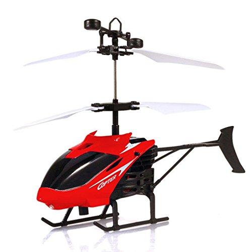 HARRYSTORE Fliegen Mini RC Infrarot Induktion Hubschrauber Flugzeug Blinklicht Spielzeug mit USB Aufladung für Kinder (Rot) (Starten Sie Auto-remote)