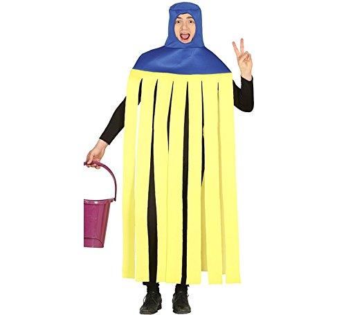 Imagen de disfraz de fregona amarilla y azul para adultos