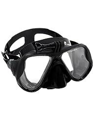 Adultos Hombres Mujeres del tubo respirador del equipo de submarinismo gafas de buceo con máscara de vidrio templado transparente de entrenamiento de natación Accesorios Equipo con soporte de montaje para GoPro héroe 3+ 4 3 2 1 Sj4000 Xiaomi Yi acción del deporte de la cámara Negro