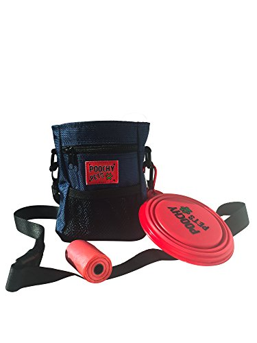 Dog Treat Bag with Poop Bag Holder & Collapsible Travel Food Water Pet Bowl – FREE POOP BAGS – Puppy Training Walking Pouch with Built-In Poo Waste Bags Dispenser – Adjustable Belt
