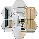 Wall1ders Atulya Arts Offering 3D Large Hexagon Acrylic Stickers (Pack of 7) with 10 Butterfly Acrylic Mirror Wall Stickers for Home & Offices(Silver)