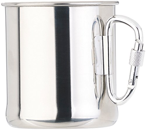 Semptec Urban Survival Technology Tasse: Leichter Edelstahl-Becher mit klappbarem Karabiner-Henkel, 250 ml (Tasse Edelstahl) Tasse Pearl