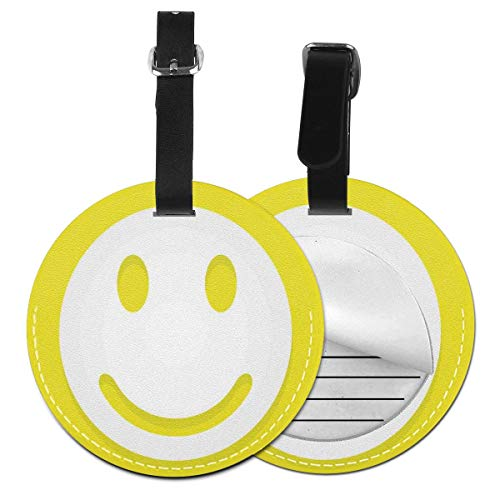 Round Travel Luggage Tags,Rise and Shine Positive Optimistic Classic Big Smiley Happy Face Theme Artwork,Leather Baggage Tag -