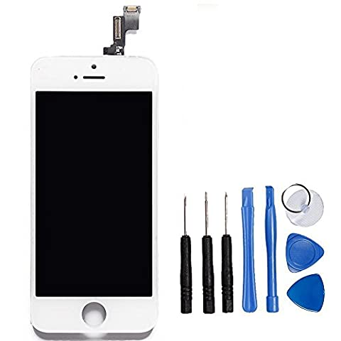 LL TRADER LCD for iPhone 5s White Display Digitizer Glass Lens Assembly Touch Screen Replacement with Repair Tool