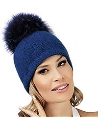 add421fff00082 Pom Pom Hat IZYDAWA - Women Warm Winter Hat Woolmark Quality