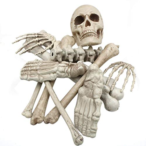 happy event Halloween 12 Stück Tasche Kunststoff Totenkopf Skelett Körper Gruseliges Spielzeug Spukhaus Tricky Prop | Skull Skeleton Body Scary Halloween Toy Haunted House Tricky Prop (Kann nicht stehen)