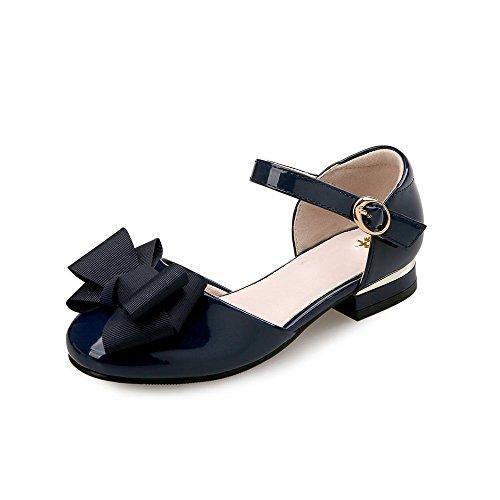 HXD Mädchen Sandalen Frozen Schuhe Prinzessin Hochzeit Party Sandalen Sommer Absatz-Schuhe Wohnungen Sandalette (EU 32, Blau) (Dressy Mädchen Sandalen)