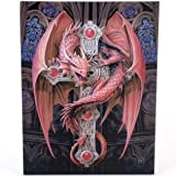 Fantastisches Anne Stokes Design - Gothic Guardian - Ein roter Drache auf ein Jewelled Kruzifix - Leinwand Bild auf Bild-Wand-Plakette / Wand Kunst