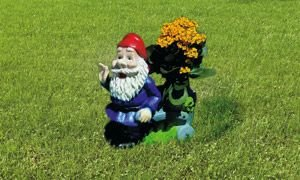Großer Pflanz-Zwerg mit Karre 34 cm 6039 bepflanzbare Figur aus Kunststoff