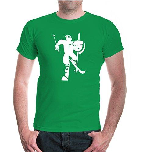 T-Shirt Cross-Country-Skiing Comicfigur-XXL-Kellygreen-White