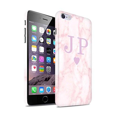 Personalisiert Rosa Marmor Mode Glanz Hülle für Apple iPhone 7 Plus / Gerahmt Silber Single Design / Initiale/Name/Text Snap-On Schutzhülle/Case/Etui Solide Rosa Herz