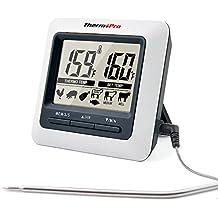 ThermoPro TP04 Termómetro de Cocina para Carne, Horno, Alimentos, Barbacoa, Gran Pantalla LCD con Temperatura de Alarma, Temporizador de Cocina