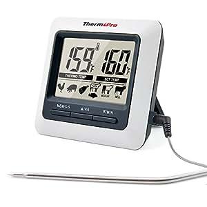 ThermoPro TP04 Termometro da Cucina per Carne Forno Cibo Barbecue con Timer, Ampio Schermo LCD, Allarme Temperatura