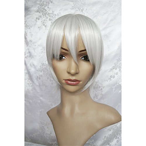 LanTing Cosplay Perücke Axis Powers Hetalia APH Iceland White Perücke Corta Cosplay Party Fashion Anime Human Costume Full wigs Synthetic Haar Heat Resistant ()