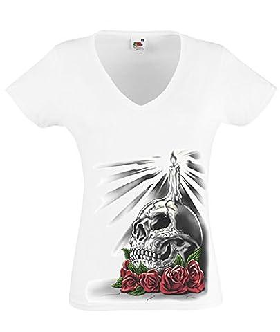 DarkArt-Designs Gothique T-Shirt Candle Skull - motif tête de mort