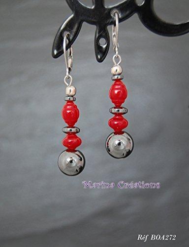 Schicke Boho-Ohrringe aus hypoallergenen Edelstahlhaken, natürliche rote Koralle und echte Hämatite, ideal für Frauen.