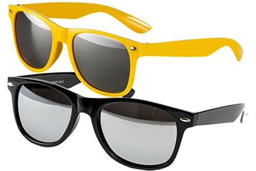 2 er Set EL-Sunprotect Sonnenbrille Nerdbrille Brille Nerd Voll Verspiegelt