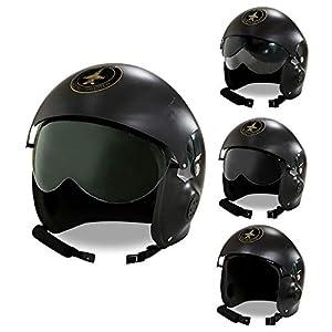 WIDMANN WDM04858?Disfraz para adulto de Elmo piloto de Jet de combate, color negro, talla única