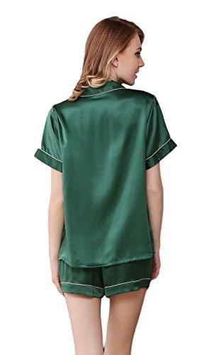 Tulpen Damen 100% Maulbeerseide Schlafanzug Set Klassische Seide Pyjamas Grün