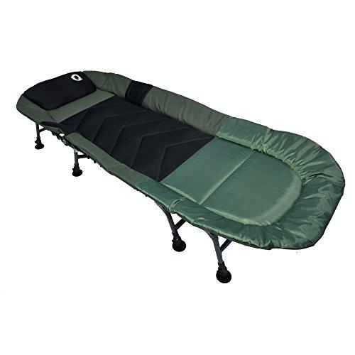 Q-Tac hochwertige Karpfenliege 8-Bein, Angelliege für Profis, Campingliege