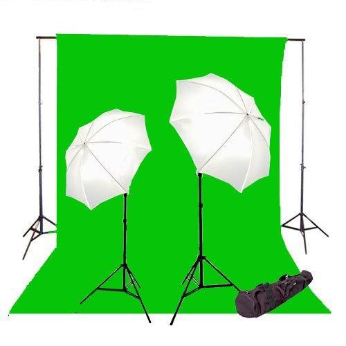 CowboyStudio Fotostudio-Lichterset, 600 W, 3 x 6 m, grüner Musselin-Hintergrund mit 3,7 m Hintergrundsystem und Tragetasche, 26kit Green Backdrop 6x9ft, schwarz