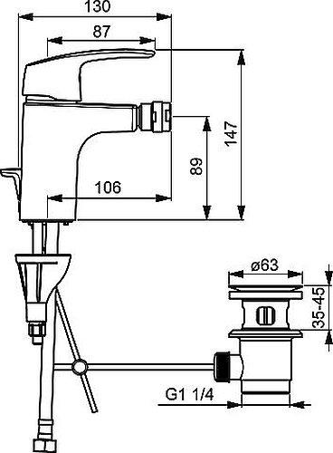 Hansa 45073283 Bidet Armatur/Sitzwaschbecken Batterie HANSAPINTO DN15 | Kugelgelenk-Luftsprudler, Ablaufgarnitur (Metall) und Zugbetätigung | 6 l/min, Ausladung 106 mm