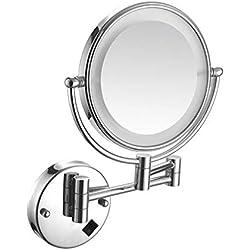LED Miroirs de Maquillage 8 Pouces, Double Face Miroir Mural, 360° Pivotant, Miroir Cosmétique 10 Fois Grossissement, pour Salle de Bain WC Chambre Spa et de l'Hôtellerie, Rose Gold
