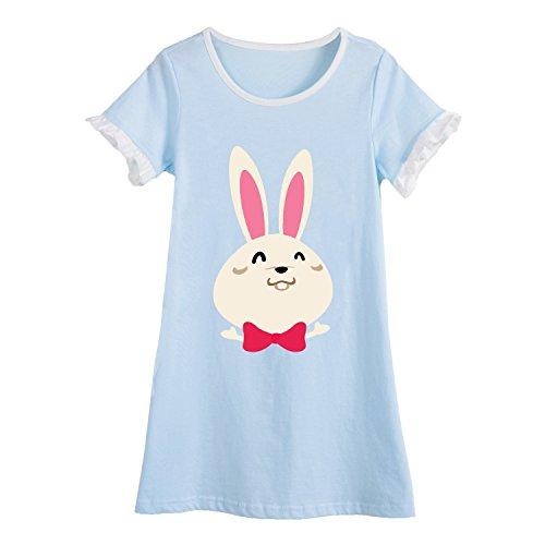 Hase Nachthemden für Mädchen Kinder Kurzarm Sommer Schlafanzüge Tierdruck Blau 8 Jahre (Mädchen Kurzarm Nachthemd)