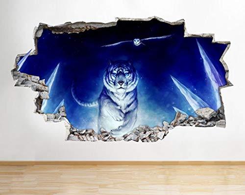 D736 White Tiger Owl Run Nacht zertr¨¹mmert Wandtattoo 3D Kunst Aufkleber Vinyl Zimmer (White Wandtattoo Tiger)