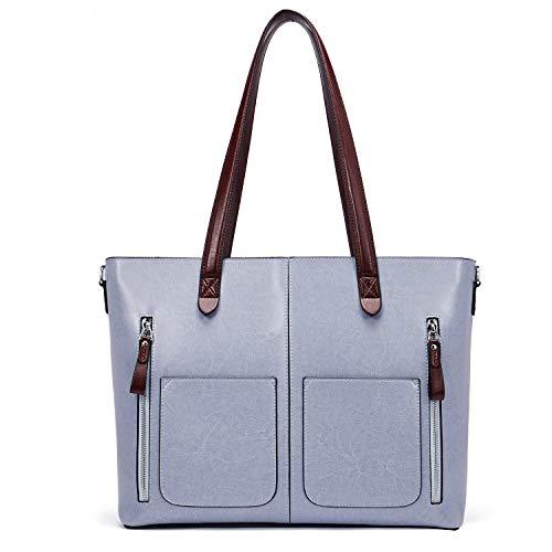 Damen-designer-laptop-tasche Tote (BOSTANTEN Damen Ledertaschen Schultertasche Frauen Designer Handtasche 14 15 Zoll Laptoptasche Tote Bag Hellblau)