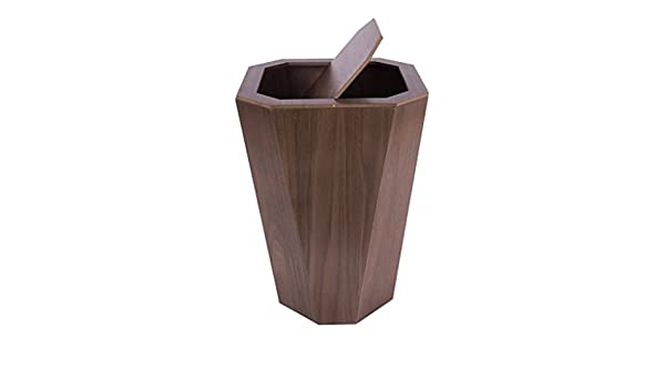 Color : A GWF Simple And Modern Chinese Clamshell Wooden Trash Household Bathroom Kitchen Living Room Bedroom Paper Basket
