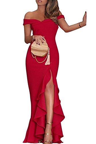 Eyeswing Damen Abendkleider Lang Partykleider Off Shoulder Maxikleider Elegant Cocktailkleid Hoch...