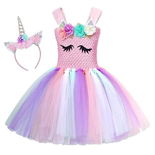 AmzBarley Einhorn Kostüm Tutu Kleid Kinder Einhörner Mädchen Prinzessin Kleider Geburtstag Party Ankleiden Karneval Halloween Cosplay Abendkleid Kleidung mit Stirnband (Cosplay Kostüme Comic)