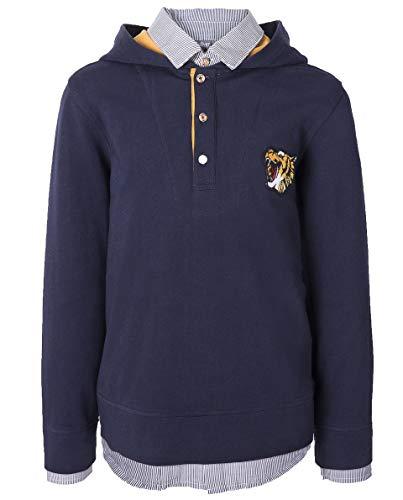 GULLIVER Jungen Polo Shirt | Farbe Blau Navy | Langarm | mit Kapuze | Bedrucken | 100% Baumwolle | für 7-10 Jahre -