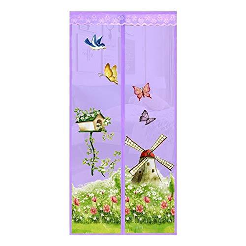 JHDUID Magnetschirm Fliegen Insekt Türgitter Mesh Vorhang Moskitonetz für Balkon Schiebetüren Wohnzimmer Kinderzimmer (90 * 210),Purple - Wohnzimmer Vorhänge 36
