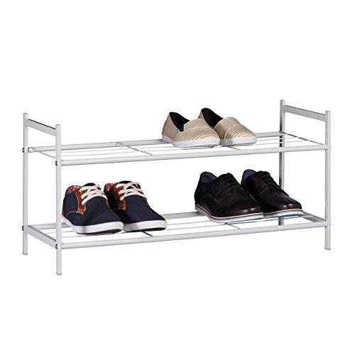 Relaxdays Schuhregal SANDRA mit 2 Ebenen, kleine Schuhablage aus Metall, HBT: ca. 33,5 x 69,5 x 26...