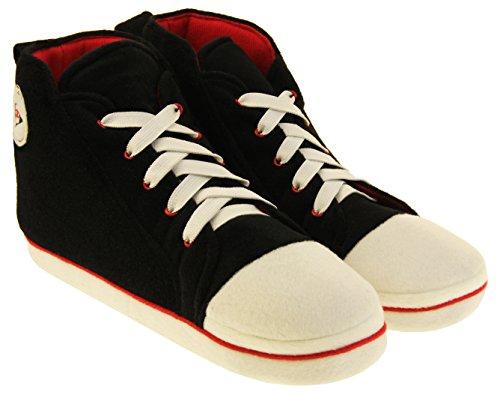 Pantofole Da Ginnastica Sportive Dunlop Warm Fleece Novelty Da Uomo. Scarpe Da Ginnastica Nere Hi Top