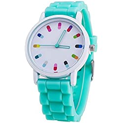 Women Ladies Clourful Dots Silicone Unisex Unisex Quartz Watch JJC001-Mint Green