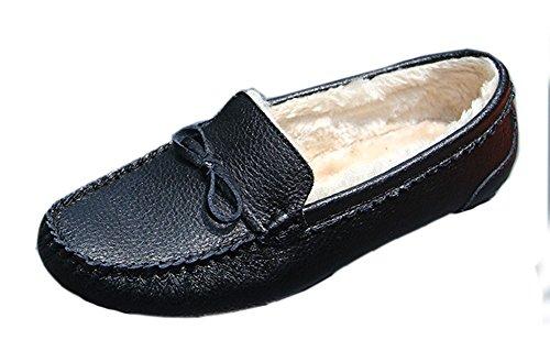 Easemax Femme Confortable Fourrure Talon Plat Mocassins Noir