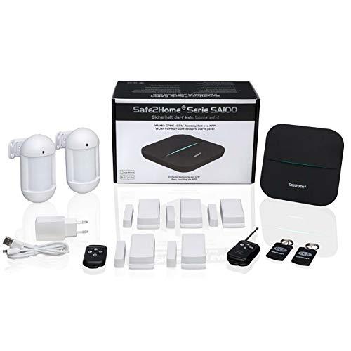Safe2Home® Funk Alarmanlage Set SA100 mit Steuerung via APP - WLAN - GSM/Simkarte für Ihr Zuhause mit Sabotageschutz - Alarmsystem - Alarmanlagen fürs Haus Büro inkl. Zubehör