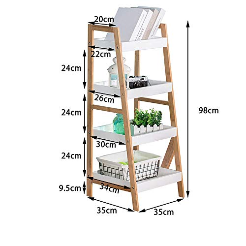 Jiaz Shelves Shelving Wood Ladder Bookshelf Ladder Shelf Bookshelf Bookcase Leaning Storage Rack Corner Display Shelving 3 Tiers/4 Tiers Racks,4 Ebenen - 3-tier-ladder Regale