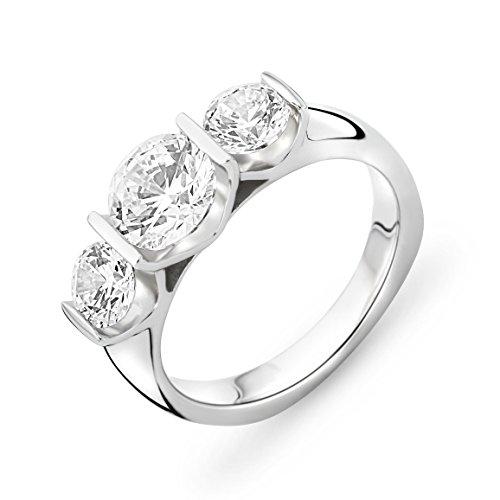Miore - Bague - Argent 925 - Diamant de synthèse - T54 - MSAE061R4