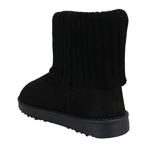 Stiefelparadies Damen Stiefeletten Schlupfstiefel Warm Gefütterte Stiefel Schuhe Flandell Schwarz Strick