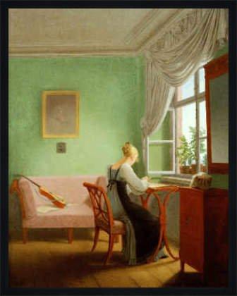 Bild mit Rahmen: Georg Friedrich Kersting, 'Die Stickerin', 63 x 80 - Holz Fortuna L: Schwarz matt