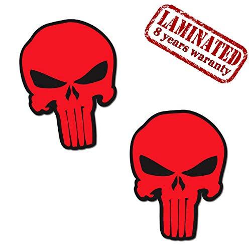 2 Stück Vinyl Punisher Rot Aufkleber Autoaufkleber Stickers Auto Moto Motorrad Fahrrad Helm Fenster Tuning B 30